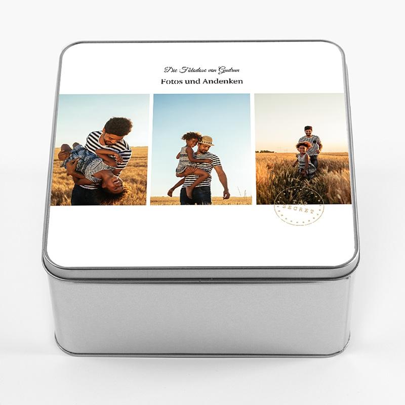 Personalisierte Fotodose Urlaubsandenken, Deckel mit eigenem Bild, 20,2 x 20,2 cm pas cher
