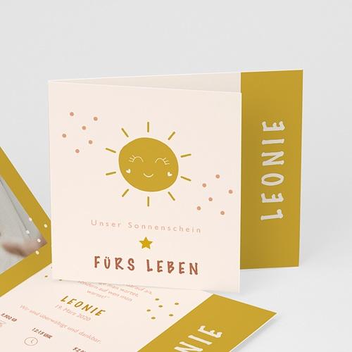 Gelb Geburtskarten Rosa, Sonne, überstehende Klappkarte