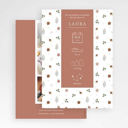 Geburtskarten für Mädchen Winterpoesie, Sternzeichen, Terracotta gratuit