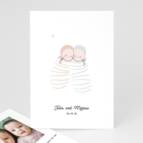 Geburtskarten für Zwillinge Windeln rosa und blau, Zwillinge Mädchen Junge