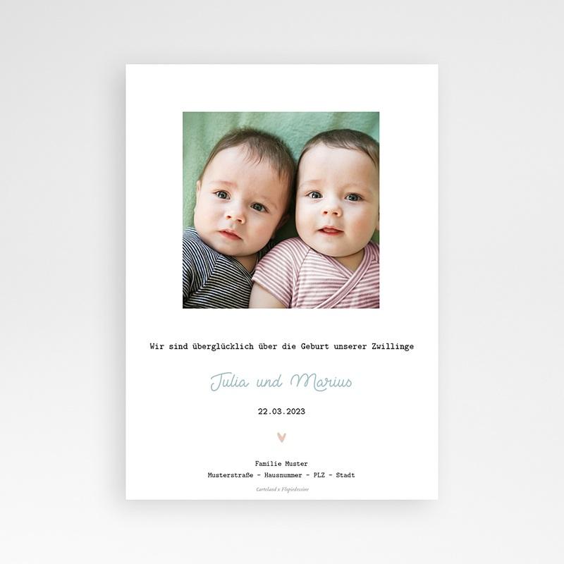 Geburtskarten für Zwillinge Windeln rosa und blau, Zwillinge Mädchen Junge pas cher