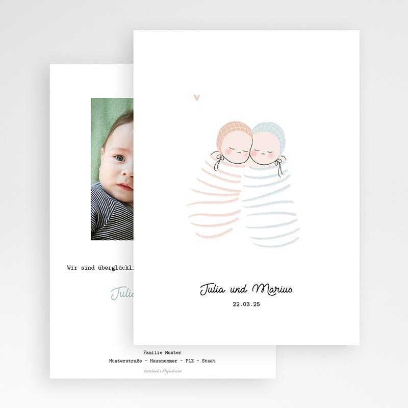 Geburtskarten für Zwillinge Windeln rosa und blau, Zwillinge Mädchen Junge gratuit