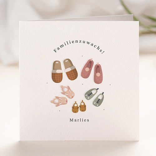 Geburtskarten für Geschwister Die 5 gehören zusammen, Pantoffeln & Foto
