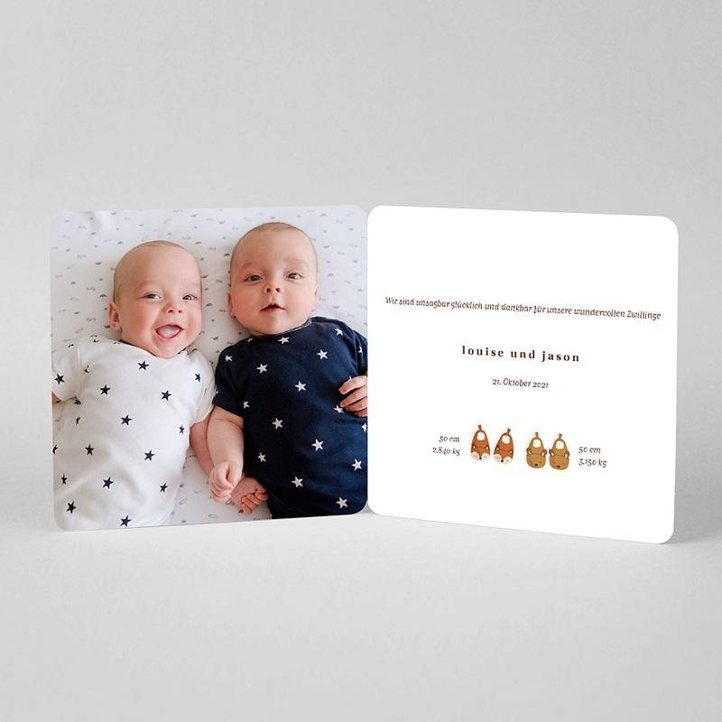 Geburtskarten für Zwillinge Die zwei sind ein Paar, Pantoffeln und Foto pas cher