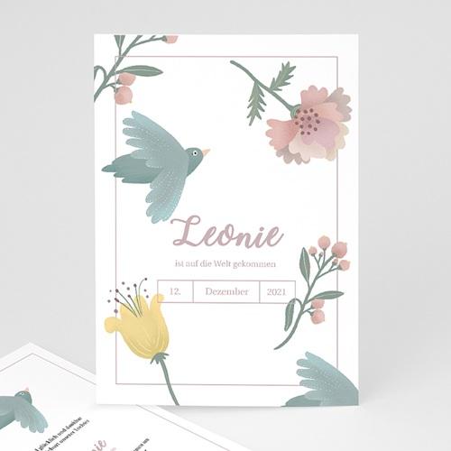 Geburtskarten Pastellpoesie, Vögel und Blumen