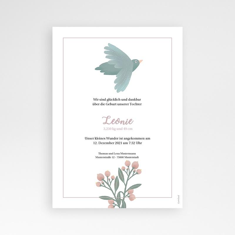 Geburtskarten Pastellpoesie, Vögel und Blumen pas cher