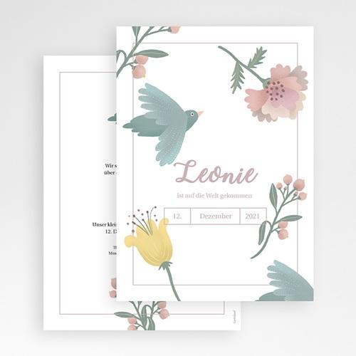 Geburtskarten Pastellpoesie, Vögel und Blumen gratuit