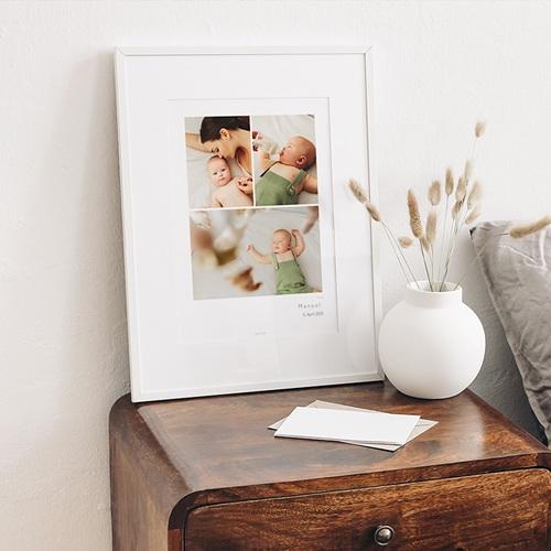Plakate 3 Fotos, Name und Geburtsdatum, 30 X 40 cm gratuit