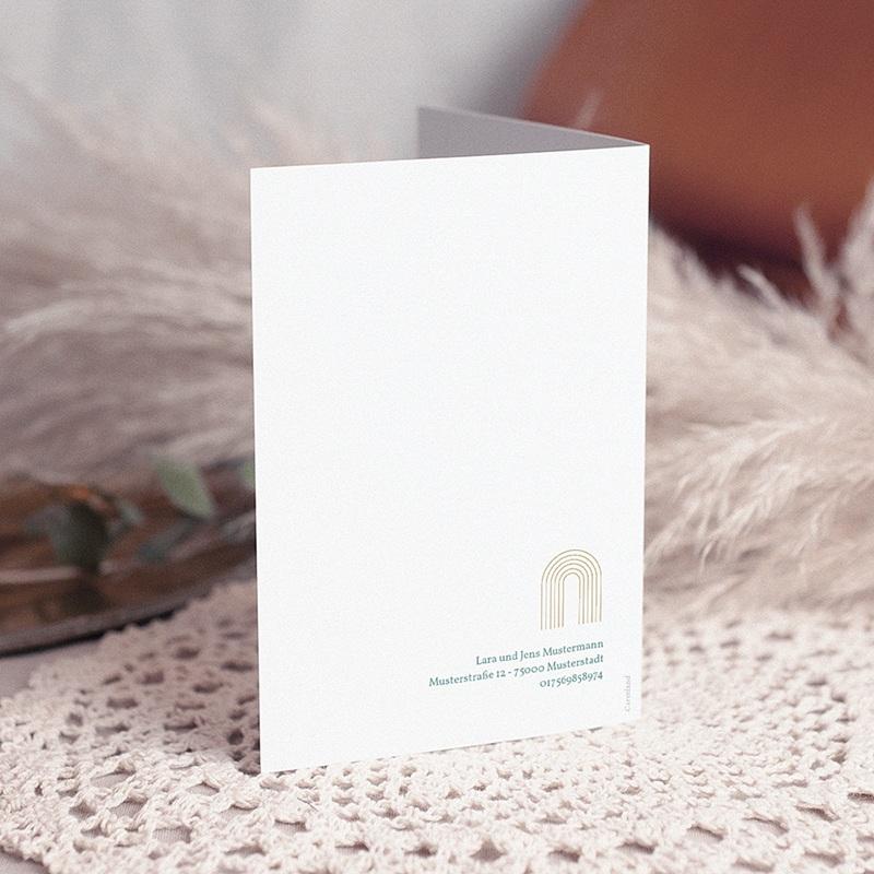 Klassische Einladungskarten Kommunion Kirchenportal, geometrisch, Goldprägung gratuit