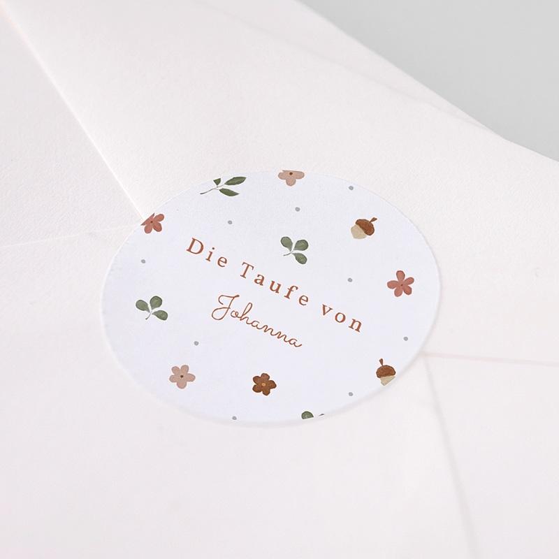 Aufkleber Taufe Herbstnatur Allerlei, Aufkleber Ø 4,5 cm pas cher