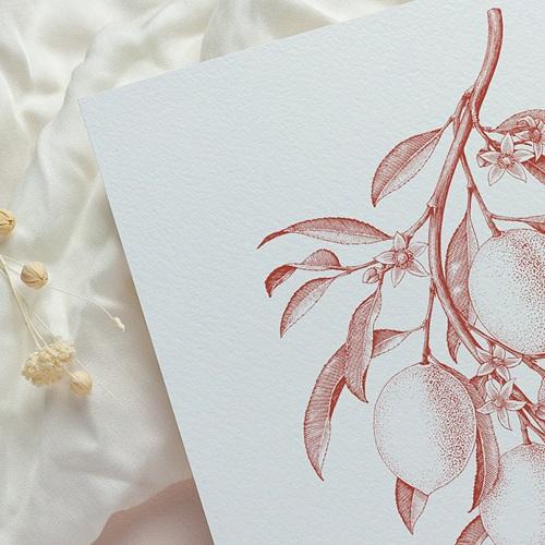Vintage Hochzeitseinladungen Monochrome Gravur, Vintage rote Zitronen, Recto-Verso