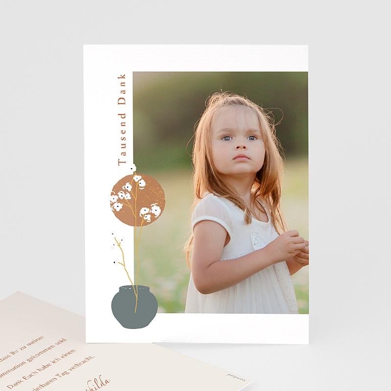 Dankeskarten Kommunion Mädchen Wege zur Erfüllung, Portrait, 10 x 14 cm