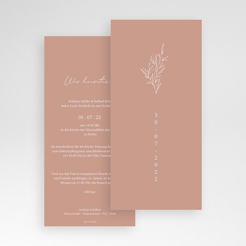 Romantische Hochzeitseinladungen Perfekte Harmonie, Farbe Pastell, 10 x 21 cm pas cher