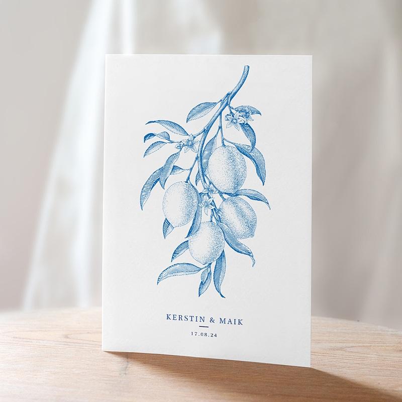 Vintage Hochzeitseinladungen Botanische Gravur, blaue Zitronen Vintage, Recto-Verso