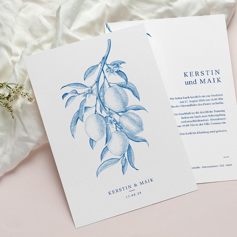 Vintage Hochzeitseinladungen Botanische Gravur, blaue Zitronen Vintage, Recto-Verso pas cher