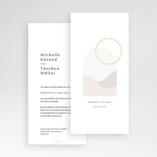 Romantische Hochzeitseinladungen Perfekte Einheit, nude chic, 10 x 21 cm pas cher