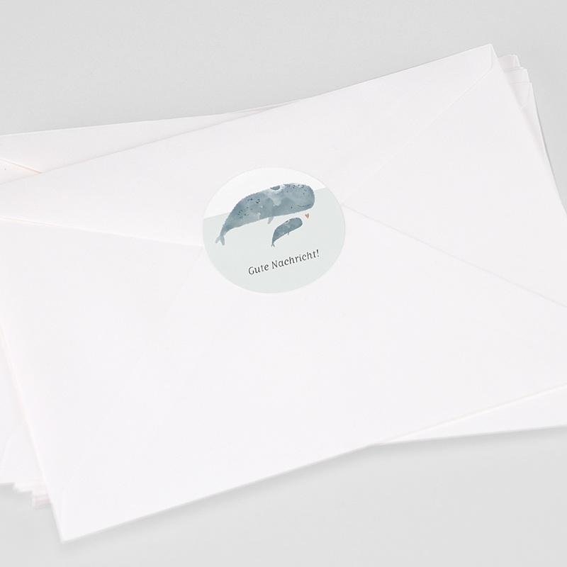 Aufkleber Geburt Tanz der Wale, Aufkleber für Briefumschlag, Ø 4.5 cm