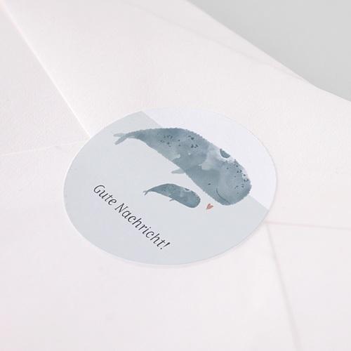 Aufkleber Geburt Tanz der Wale, Aufkleber für Briefumschlag, Ø 4.5 cm pas cher
