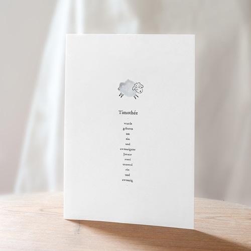 Geburtskarten für Jungen Süße Miniatur, blau-graues Schäflein & Foto