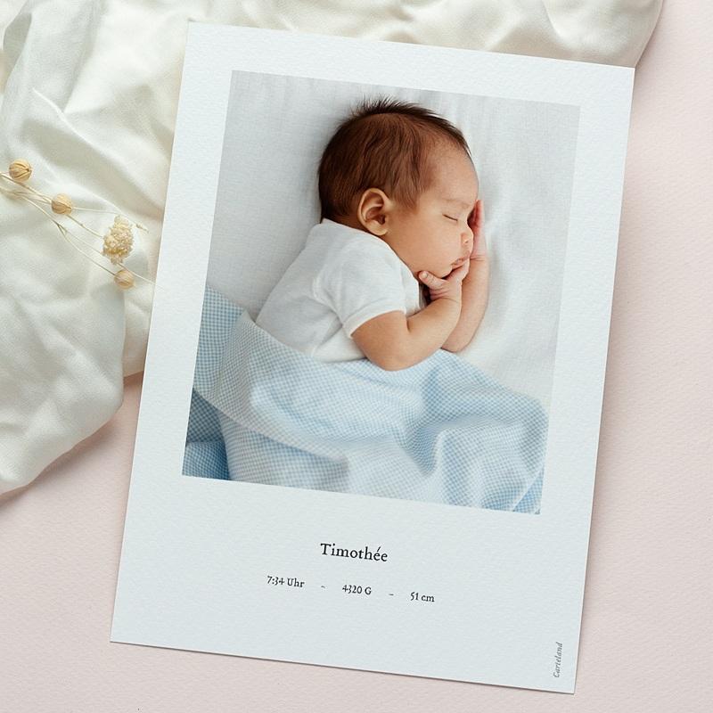 Geburtskarten für Jungen Süße Miniatur, blau-graues Schäflein & Foto gratuit