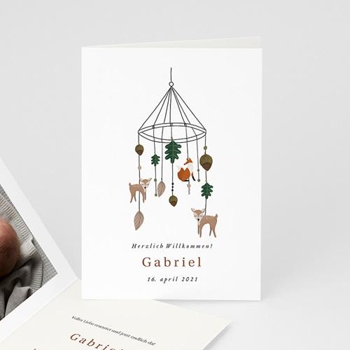 Geburtskarten mit Tieren Mobile im Zauberwald, Foto, Klappkarte