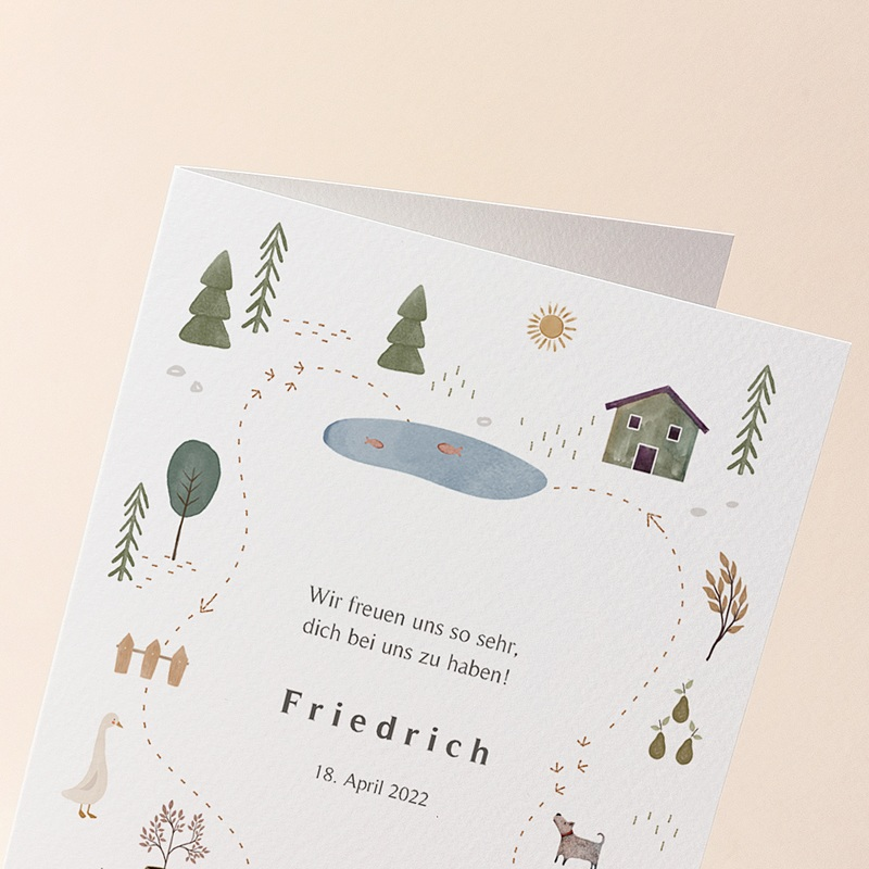Geburtskarten für Mädchen oder Jungen Haus des Glücks, Klappkarte, 12 x 17 cm gratuit