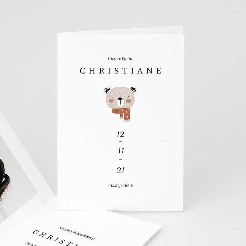 Geburtskarten mit Tieren Kleiner Winterbär, Aloe Vera, Klappkarte