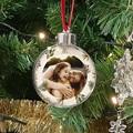 Personalisierte Weihnachtskugel grüne Winterzweige, Foto