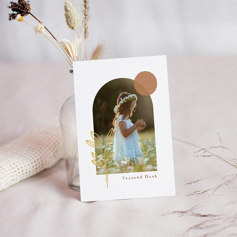 Dankeskarten Kommunion Mädchen Hostie und Goldzweig mit Foto
