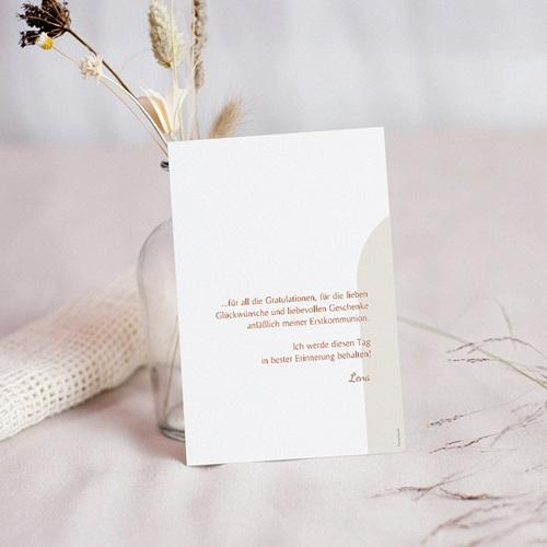 Dankeskarten Kommunion Mädchen Hostie und Goldzweig mit Foto pas cher