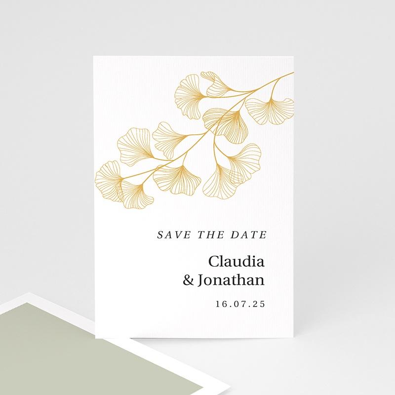 Save The Date Karten Hochzeit Ginkgo Biloba, Goldblätter, merkenswertes Datum