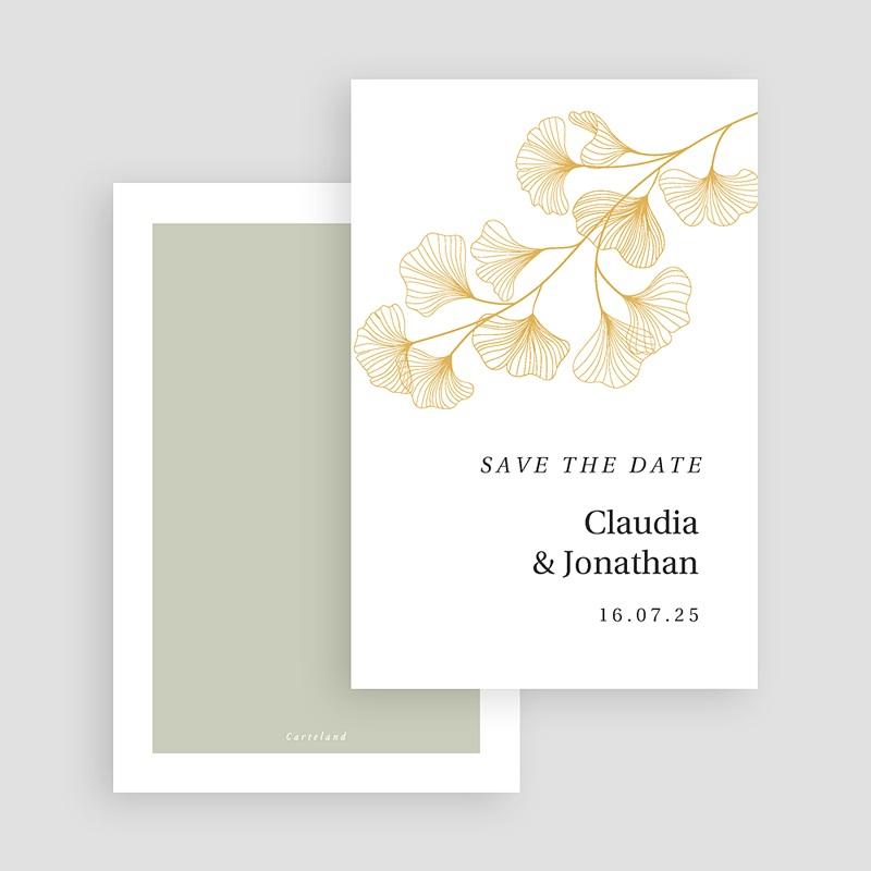 Save The Date Karten Hochzeit Ginkgo Biloba, Goldblätter, merkenswertes Datum gratuit