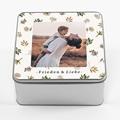 Personalisierte Fotodose Weihnachtsstimmung, Foto und Blumendekoration, 20,2 x 20,2 x 10 cm