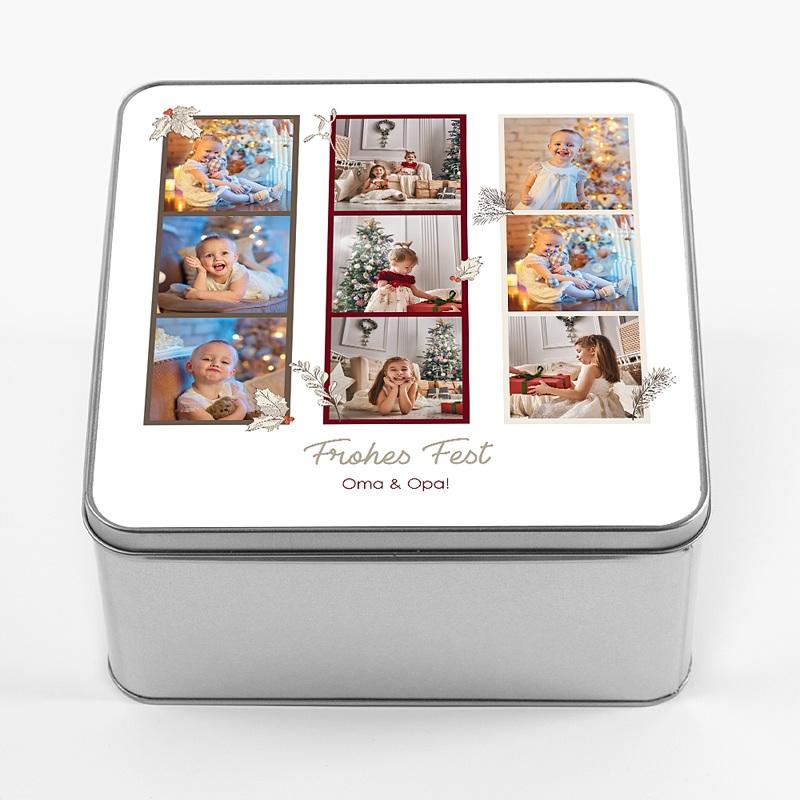 Personalisierte Fotodose Retro Fotos, 9 Fotos, 20,2 x 20,2 x 10 cm