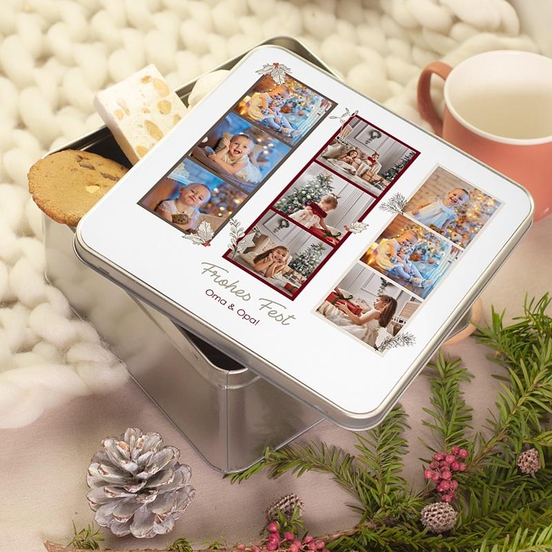 Personalisierte Fotodose Retro Fotos, 9 Fotos, 20,2 x 20,2 x 10 cm pas cher