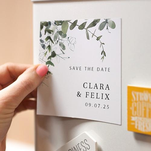 Save The Date Magnet Hochzeit Eucalyptus, floral, Magnete 9 x 9 pas cher