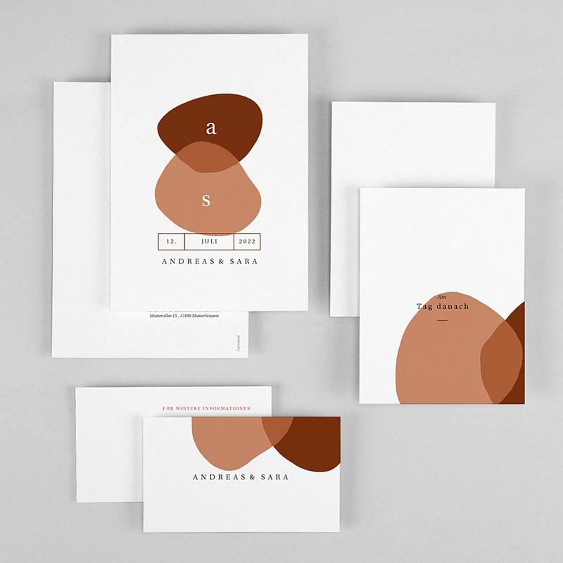 Schlicht Hochzeitseinladungen abstrakte Herbstfarben, 3 in 1 gratuit