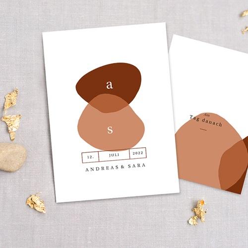 Schlicht Hochzeitseinladungen abstrakte Herbstfarben, 3 in 1