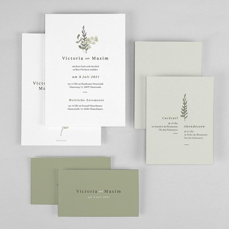 Rustikale Hochzeitseinladungen Neo Ländlich, 3 in 1, Salbei Grün gratuit
