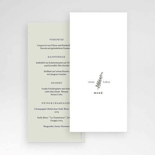 Menükarten Hochzeit Neo Ländlich, Salbei Grün, 10 x 21 cm pas cher