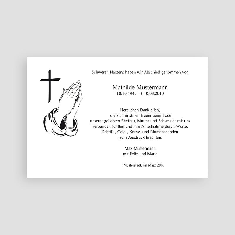 Christlich Dankeskarten Trauer Gefaltete Hände pas cher