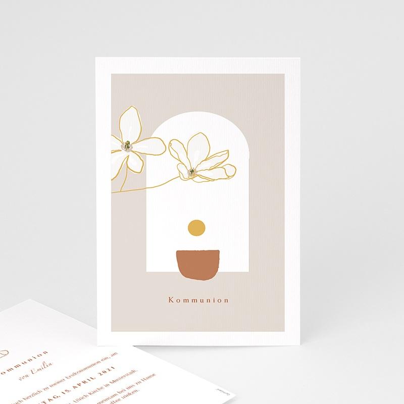Einladungskarten Kommunion fur Mädchen Blumen, japanischer Stil, Goldprägung