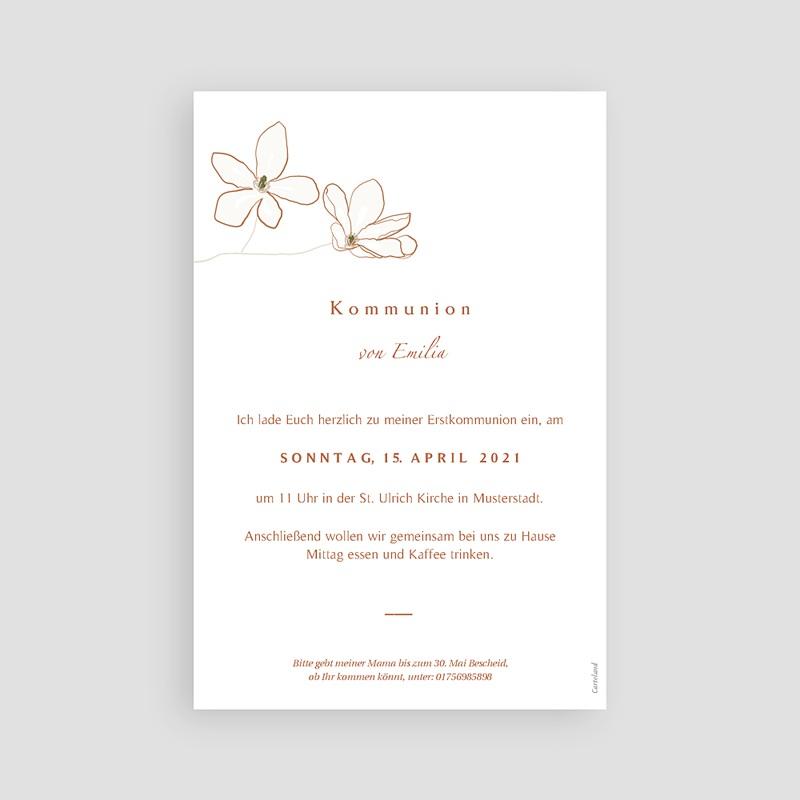 Einladungskarten Kommunion fur Mädchen Blumen, japanischer Stil, Goldprägung pas cher