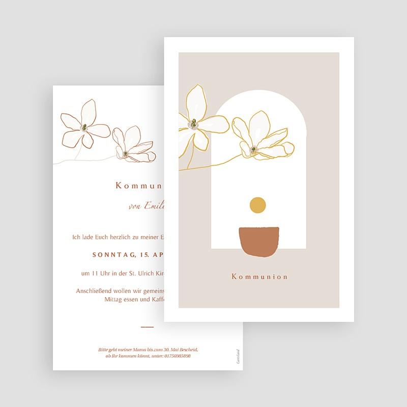 Einladungskarten Kommunion fur Mädchen Blumen, japanischer Stil, Goldprägung gratuit