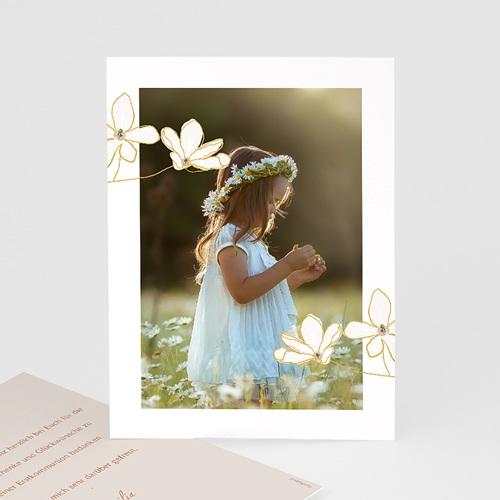 Klassische Dankeskarten Kommunion Blumen, japanischer Stil, Foto, Goldprägung