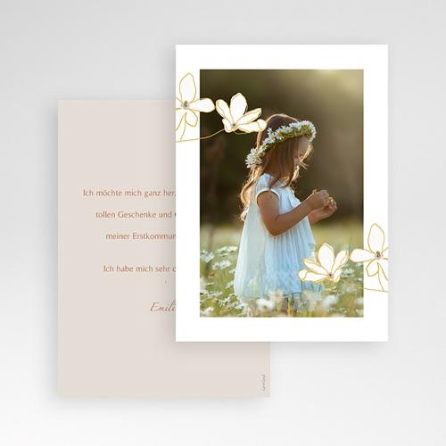 Klassische Dankeskarten Kommunion Blumen, japanischer Stil, Foto, Goldprägung pas cher