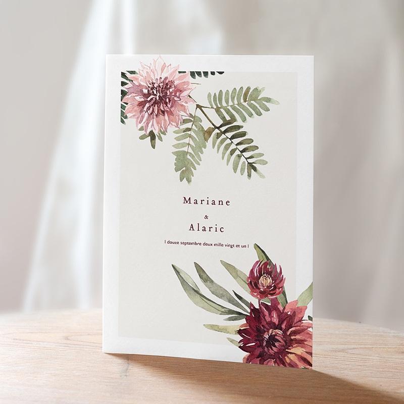 Natur Hochzeitseinladungen Blumige Harmonie, Dahlie & Farne, 15 x 21 cm