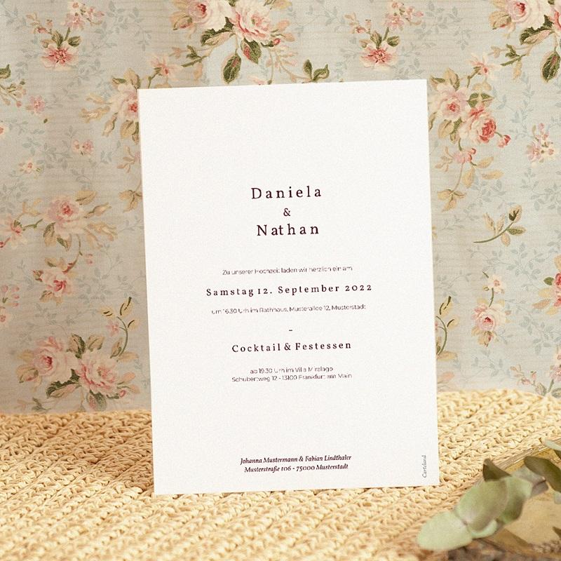 Elegante Hochzeitseinladungen Palma Terracotta, Tropical chic, 15 x 21 cm pas cher