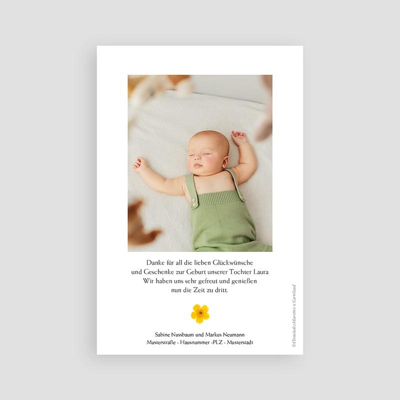 Dankeskarten Geburt für Mädchen Sonnenherbarium, Portrait pas cher