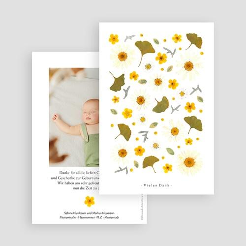 Dankeskarten Geburt für Mädchen Sonnenherbarium, Portrait gratuit